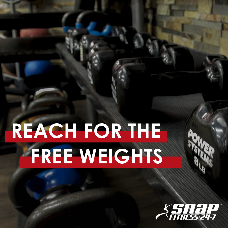 Trade your machine exercises for dumbbells, barbells, and medicine balls to build strength in ways more specific to YOUR body. You'll also be working those smaller, stabilizing muscles that machines miss.