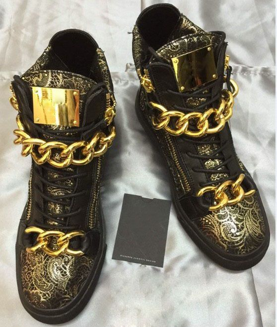 3e96751ced95e Italian Punk Style Fashion Men Gold High Top Shoes Sneaker Boot With Gold  Chains Luxury Designer Genuine Leather Embroidered Hot-in Boots from Shoes  on ...