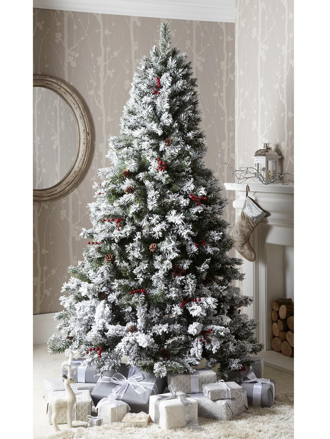 7ft Bavarian Pine Flocked Christmas Tree with Cones and