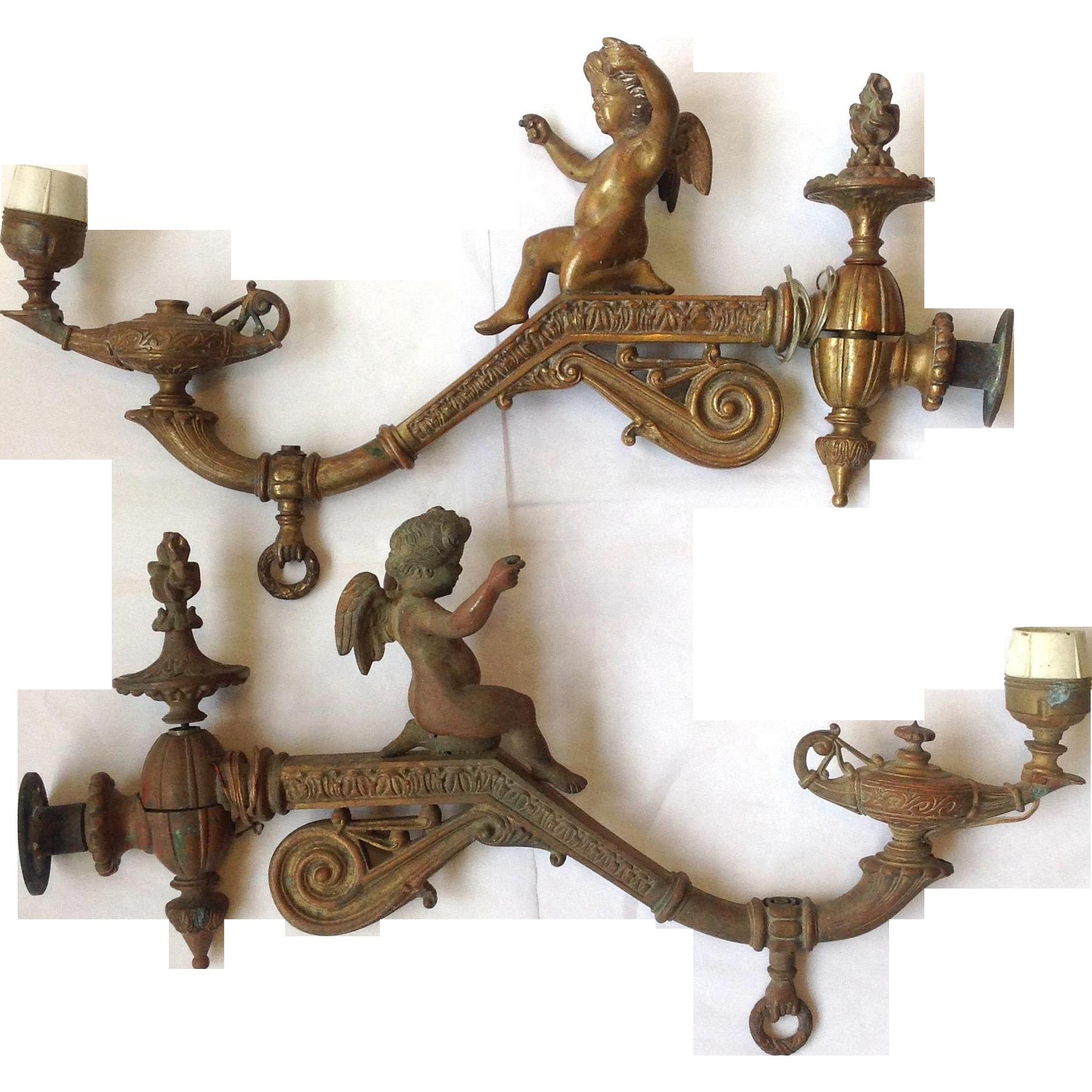 Antique cherub gas sconces aladdins lamp victorian from antique cherub gas sconces aladdins lamp victorian arubaitofo Images