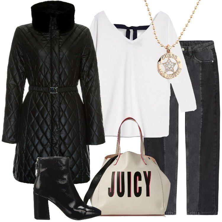 Outfit in bianco e nero composto da cappotto trapuntato