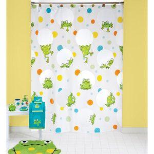 Peeking Frogs Vinyl Shower Curtain Kids Projects Decor