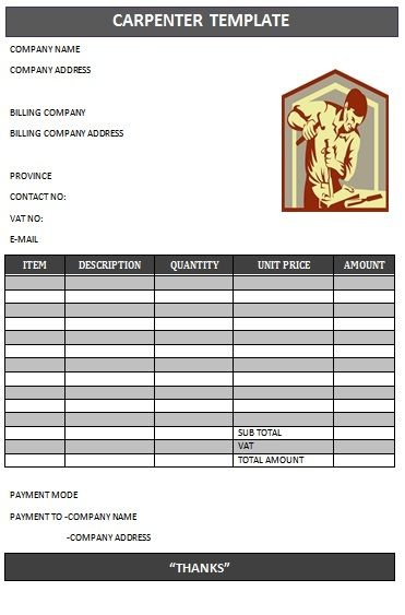 CARPENTER INVOICE TEMPLATE-18 Carpenter Invoice Templates - billing formats
