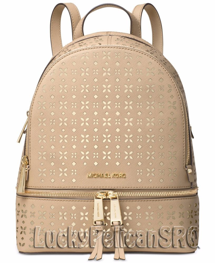 8577282e875a ... Handbags Accessories - Michael Kors Rhea Zip Medium Backpack Saffiano  Bisque Beige NWT MichaelKors Backpack ...