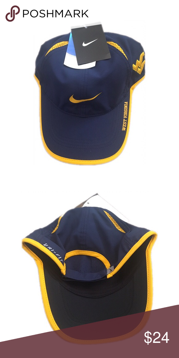 eb4593bf1aa West Virginia Mountaineers Nike Adjustable Hat Cap Brand new with tags  officially licensed West Virginia Mountaineers Nike dri fit featherlight  Adjustable ...