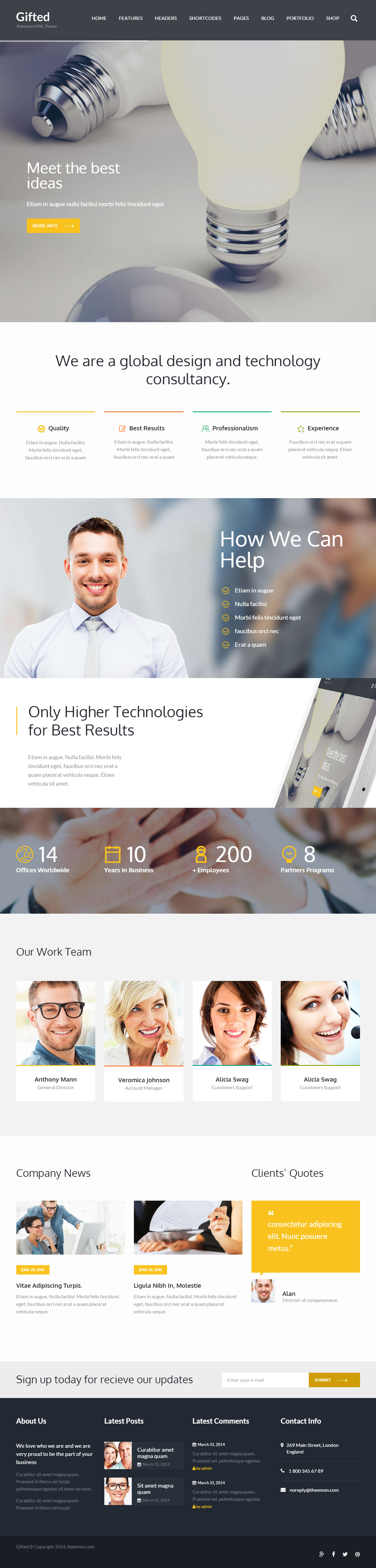 Parallax Website Template Gifted Is Premium Full Responsive Retina #html5 #multipurpose