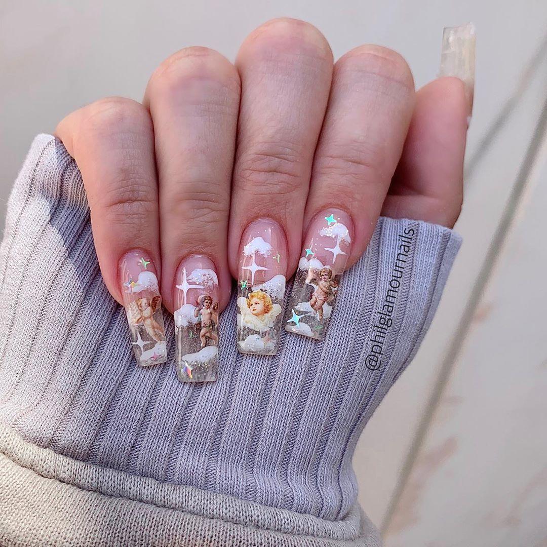 P H I L L I P On Instagram Angel Nails For The Talented Jennanicoleofficial Beverlyhills Nailart Nailartist Philg In 2020 Angel Nails Vampy Nails Glamour Nails