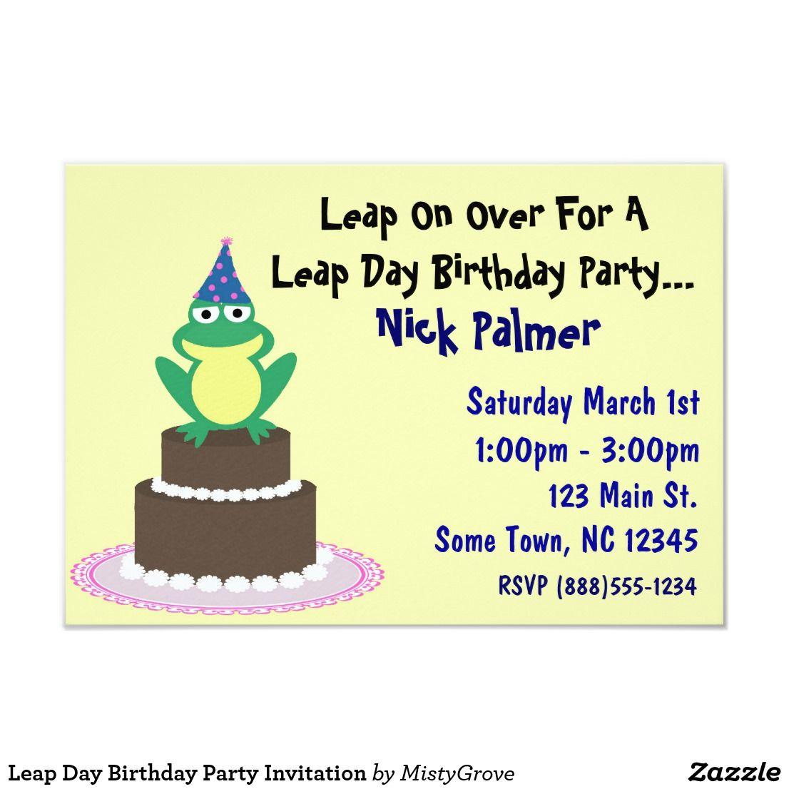 leap day birthday party invitation
