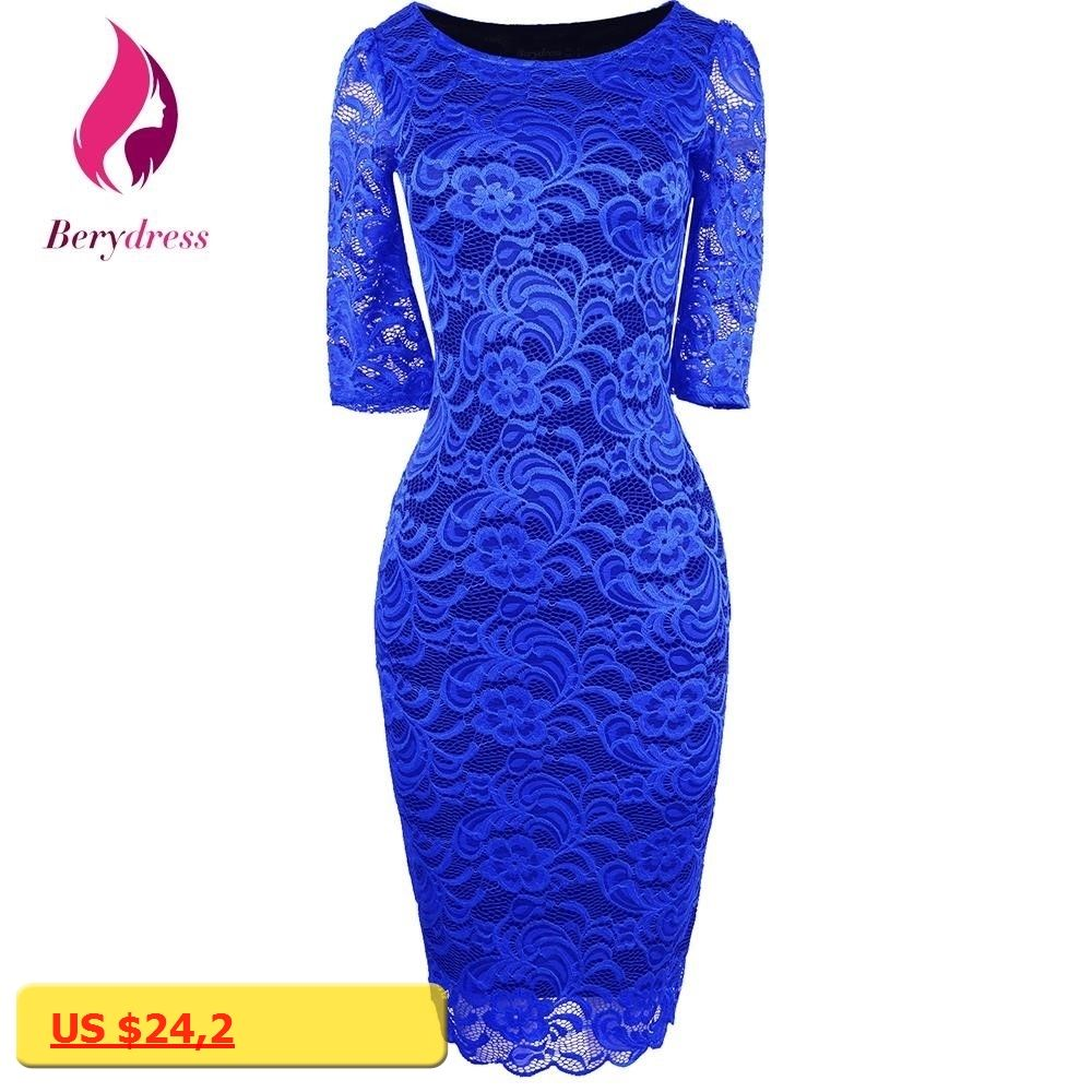 Lace dress royal blue  Berydress Women Elegant Pencil Dress Half Sleeves Vestidos De Festa