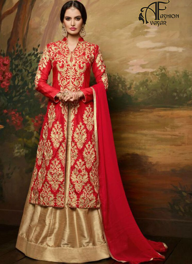 lehenga salwar suit online – red silk achkan salwar kameez online ...