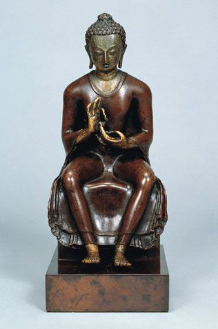 Ketumati Maitreya -Nepal; Transitional period (880-1200), 11th - 12th century Copper alloy with copper overlay, traces of gilding, and trace of blue pigment  H. 8 3/4 in. (22.2 cm)