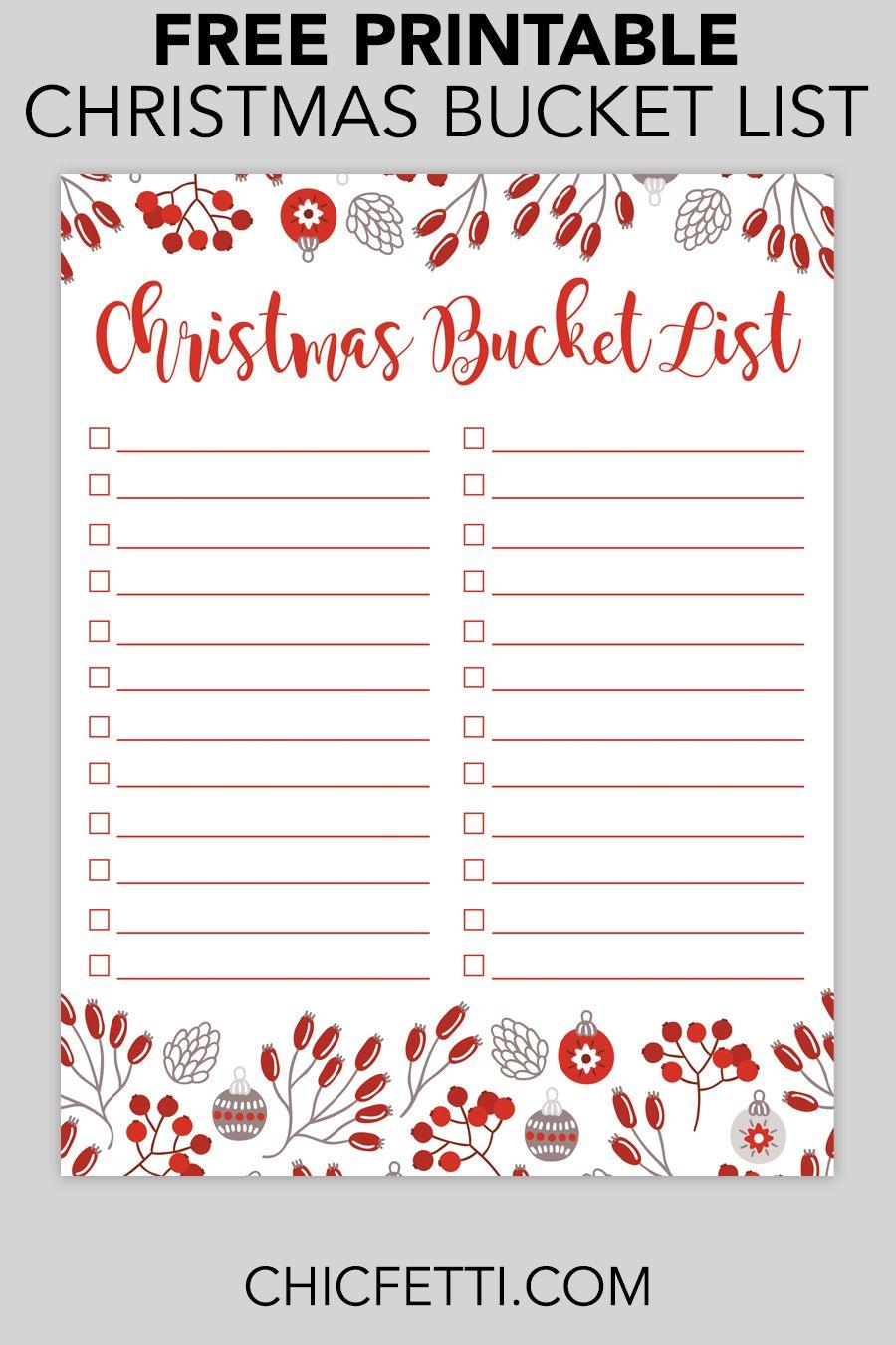 Printable Christmas Bucket List Christmas Bucket List Printable Christmas List Template Free Christmas Printables