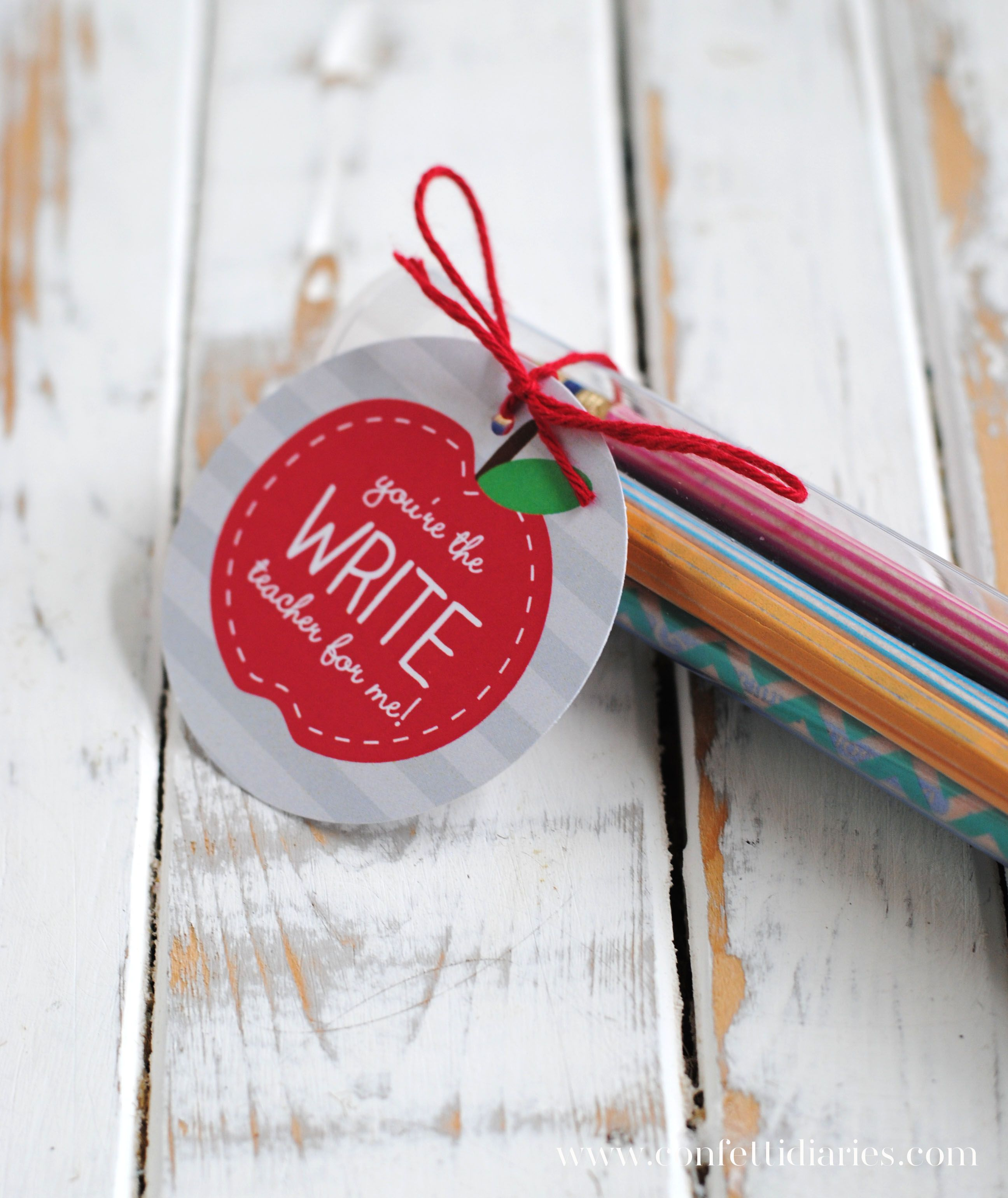 Washi Tape Pencils And Free Printable Apple T Tags