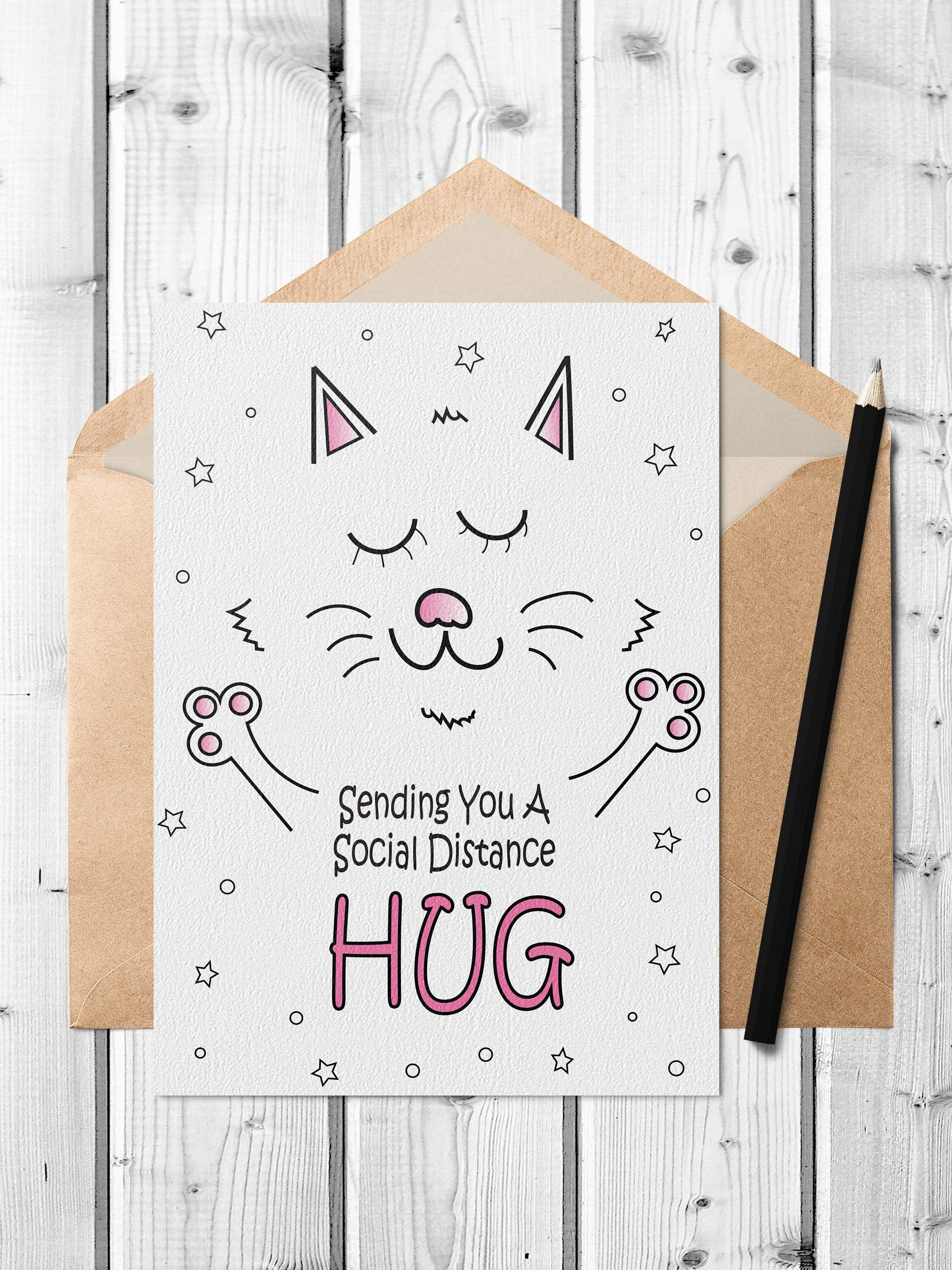 Social Distancing Printable Card Cute Cat Social Distance Etsy Miss You Cards Birthday Card Printable Printable Cards