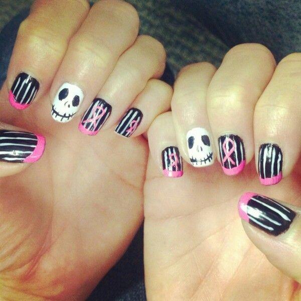 More Halloween/Breast Cancer Awareness Month nails! Jack Skellington ...