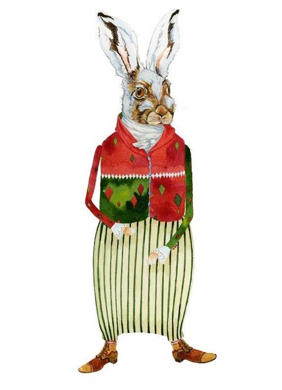 Lièvre d\u0027impression aquarelle dessin d\u0027Hare Hare Hare Giclee Print