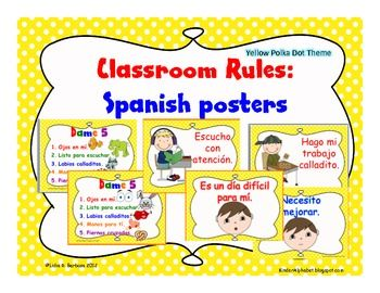 SPANISH Classroom Rules- { posters in yellow polka dot theme ...