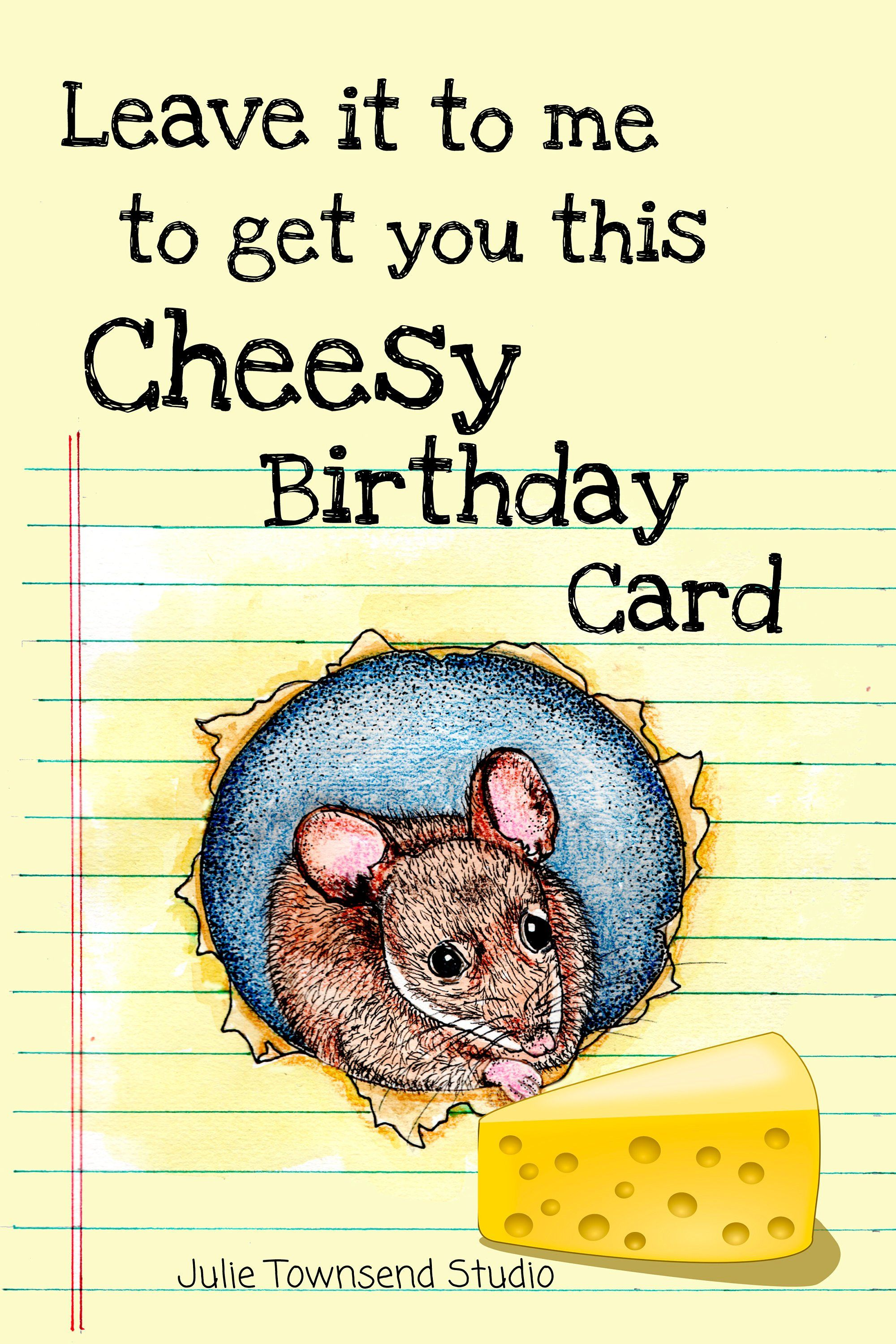 Sending happiness greeting card with little mouse illustration downloadable