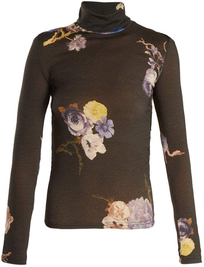 ACNE STUDIOS Cleo high neck floralprint wool sweater