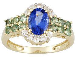 Tanzanite And Orissa Alexandrite 1.70ctw With .32ctw White Sapphire 10k Yellow Gold Ring