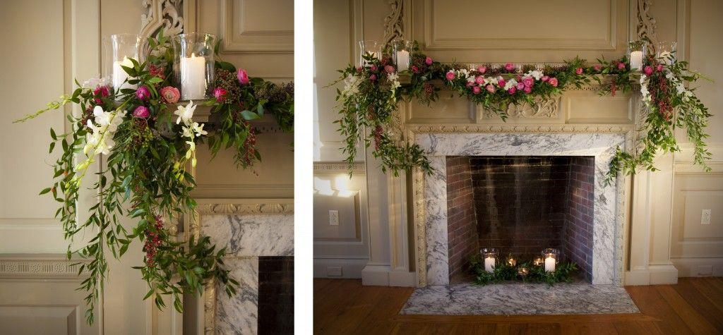 Davio's Fireplace, Ruscus & Berries