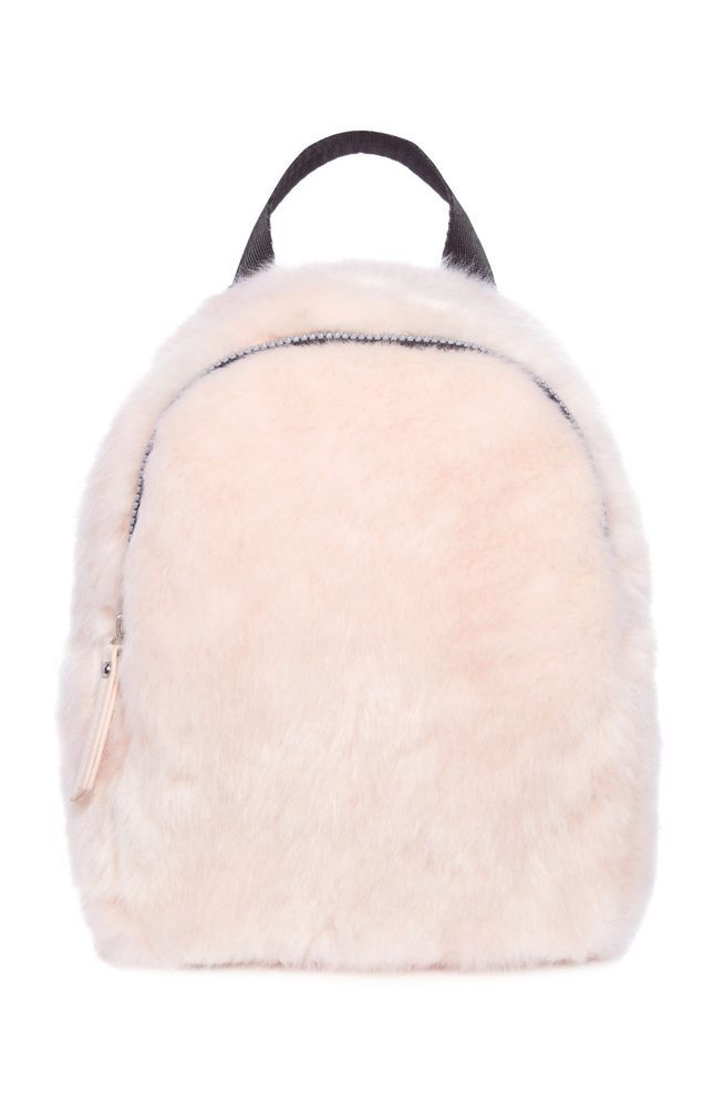 068691fab78f Details about Ladies Girls Light Pink Fluffy Mini Backpack Faux Fur ...