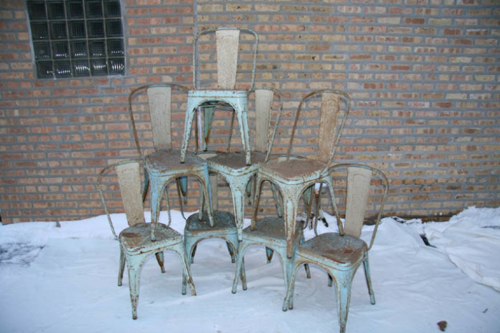 Vintage French Tolix Industrial Chairs