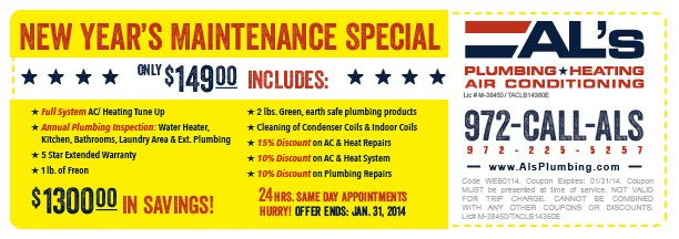 Al S Plumbing Heating Ac Preferred Service Agreement Discount