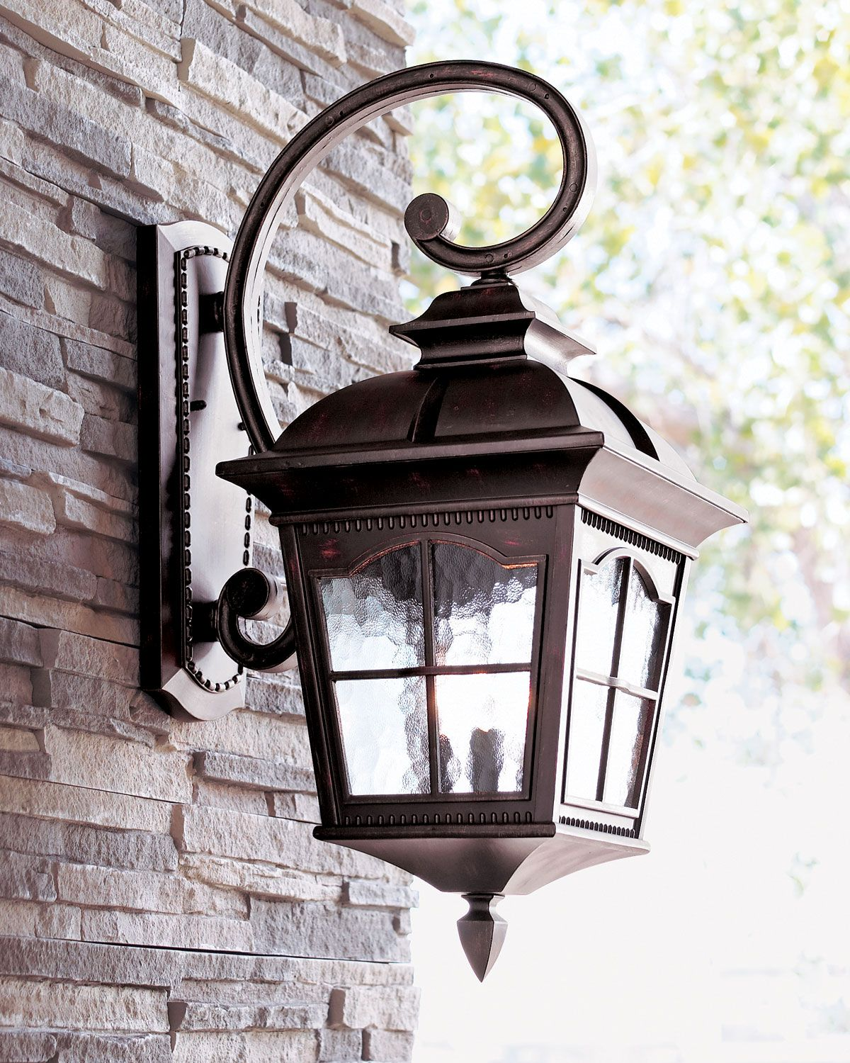 Colonial three light wall lantern wall lantern water for Front entrance light fixtures