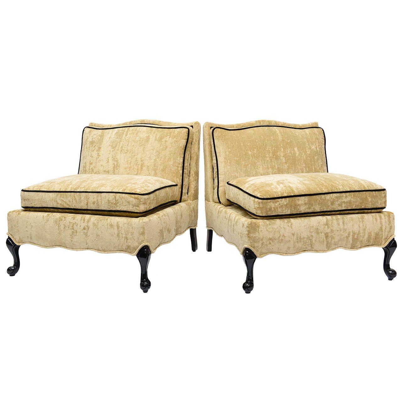 Super Pair Of 1940S Regency Velvet Slipper Chairs New Apt Theyellowbook Wood Chair Design Ideas Theyellowbookinfo
