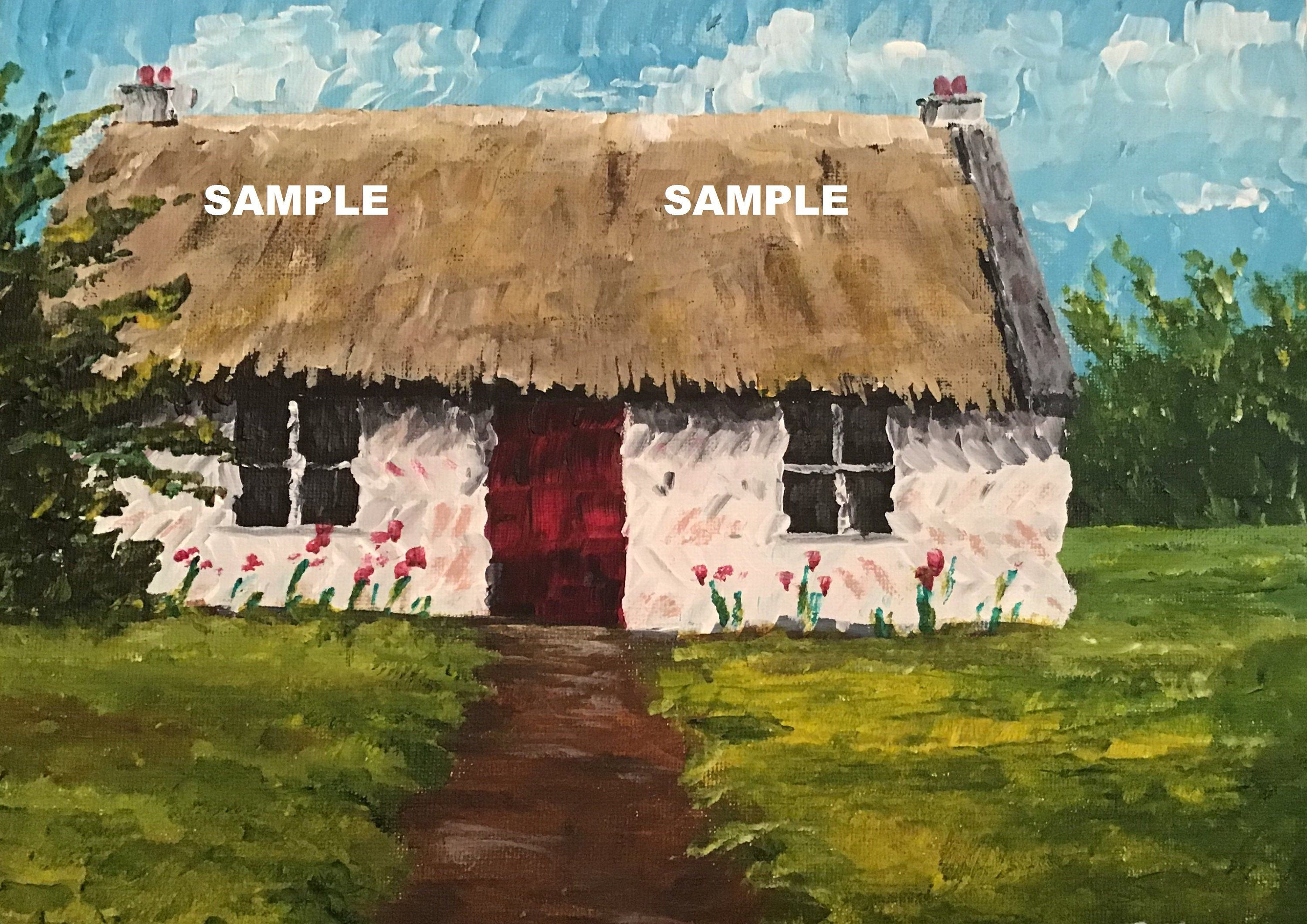 Traditional Irish Cottage painting photo print by Irish