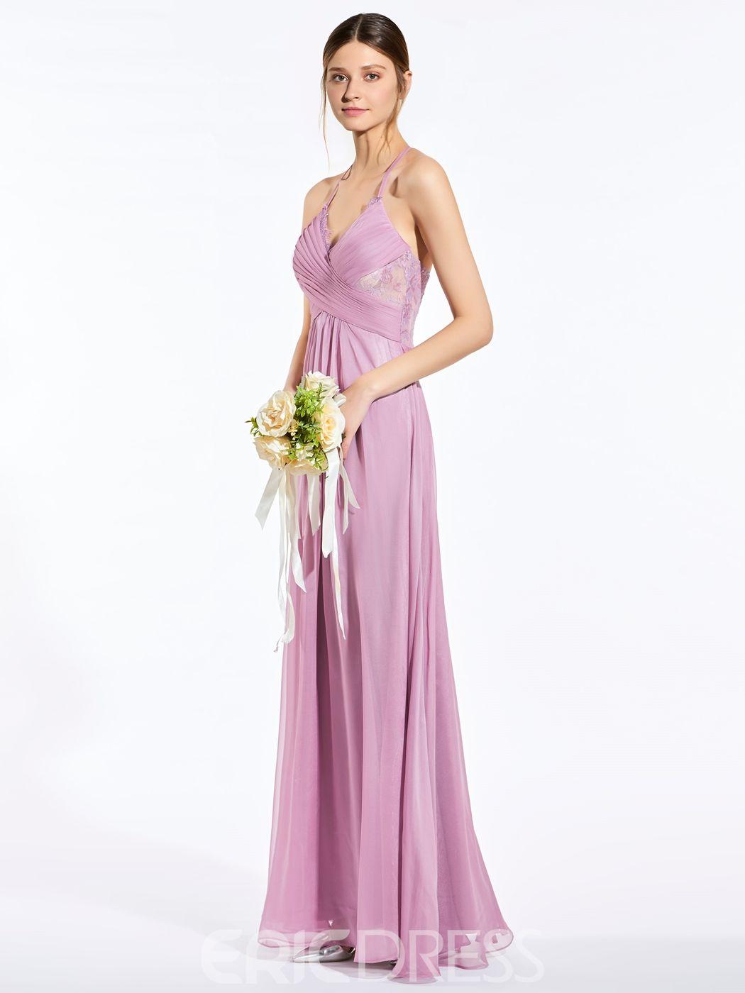 Popular halter a line long bridesmaid dress in bridesmaids