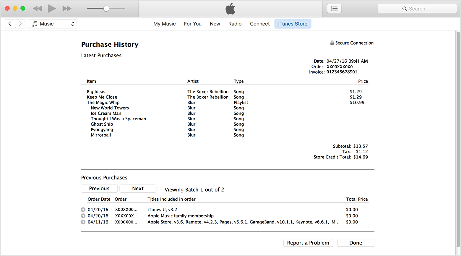 See your purchase history for the App Store or iTunes Store