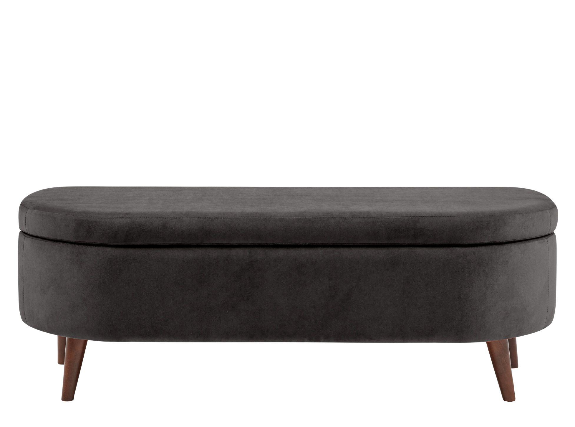 Lulu Ottoman Bench, Asphalt Grey Velvet