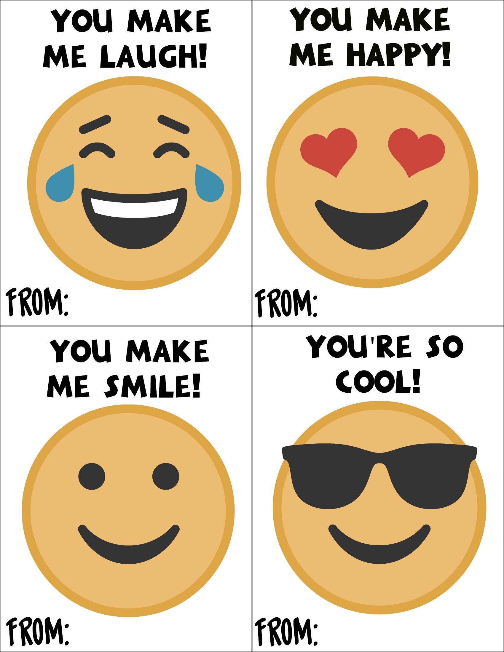 Free Printable Emoji Valentines Day Cards For School