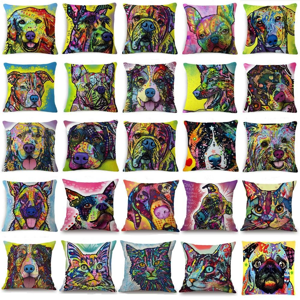 [Visit to Buy] Colorful Oil Painting Cushion Cover 45x45CM (18x18IN) Cute Dogs & Cats Pillow Cover Modern Living Room Decorative Pillow Case #Advertisement