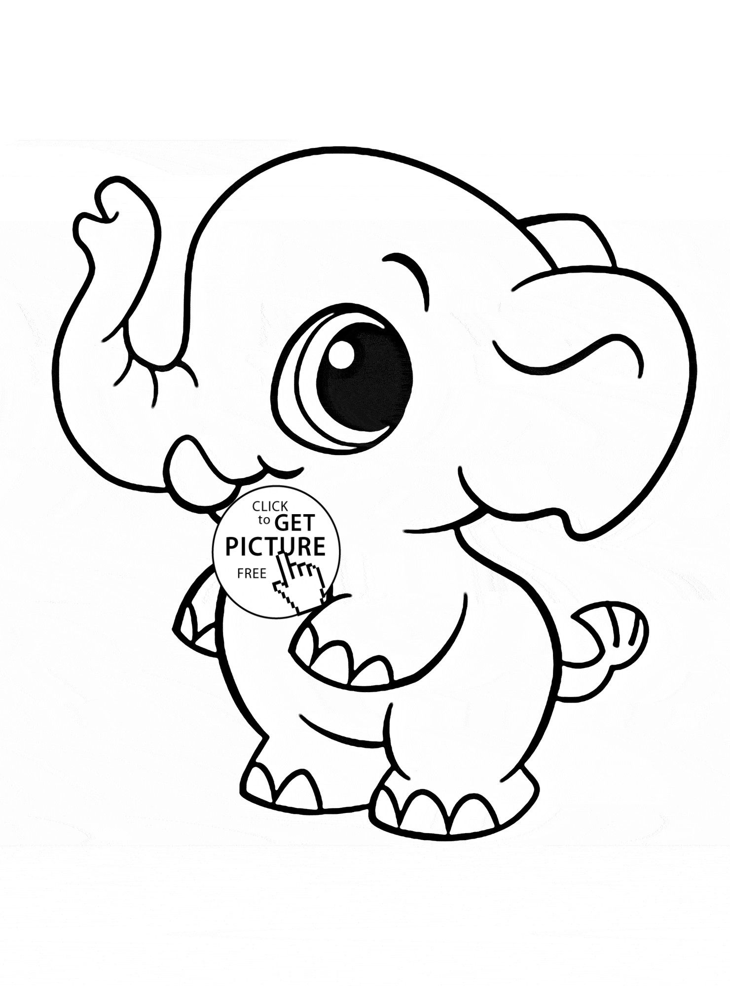 - Cute Animals With Big Eyes Coloring Pages Elephant Coloring Page