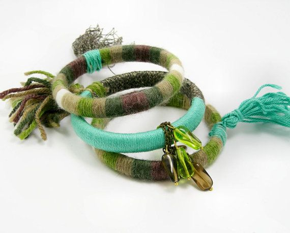 Yarn wrapped bangles set of 3 bangles wrapped by piabarile on Etsy