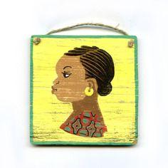 ce que www.cewax.fr préfère chez Jaarokoko - Peinture enseigne de coiffeur africain (jaune et vert) n°8
