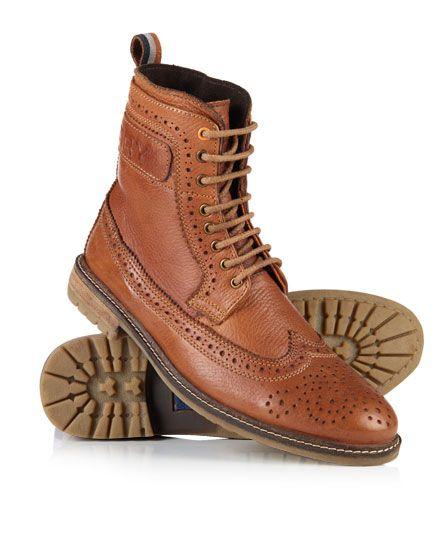Brad Brogue Leather Boots,Mens,Boots. Superdry MensTan ...