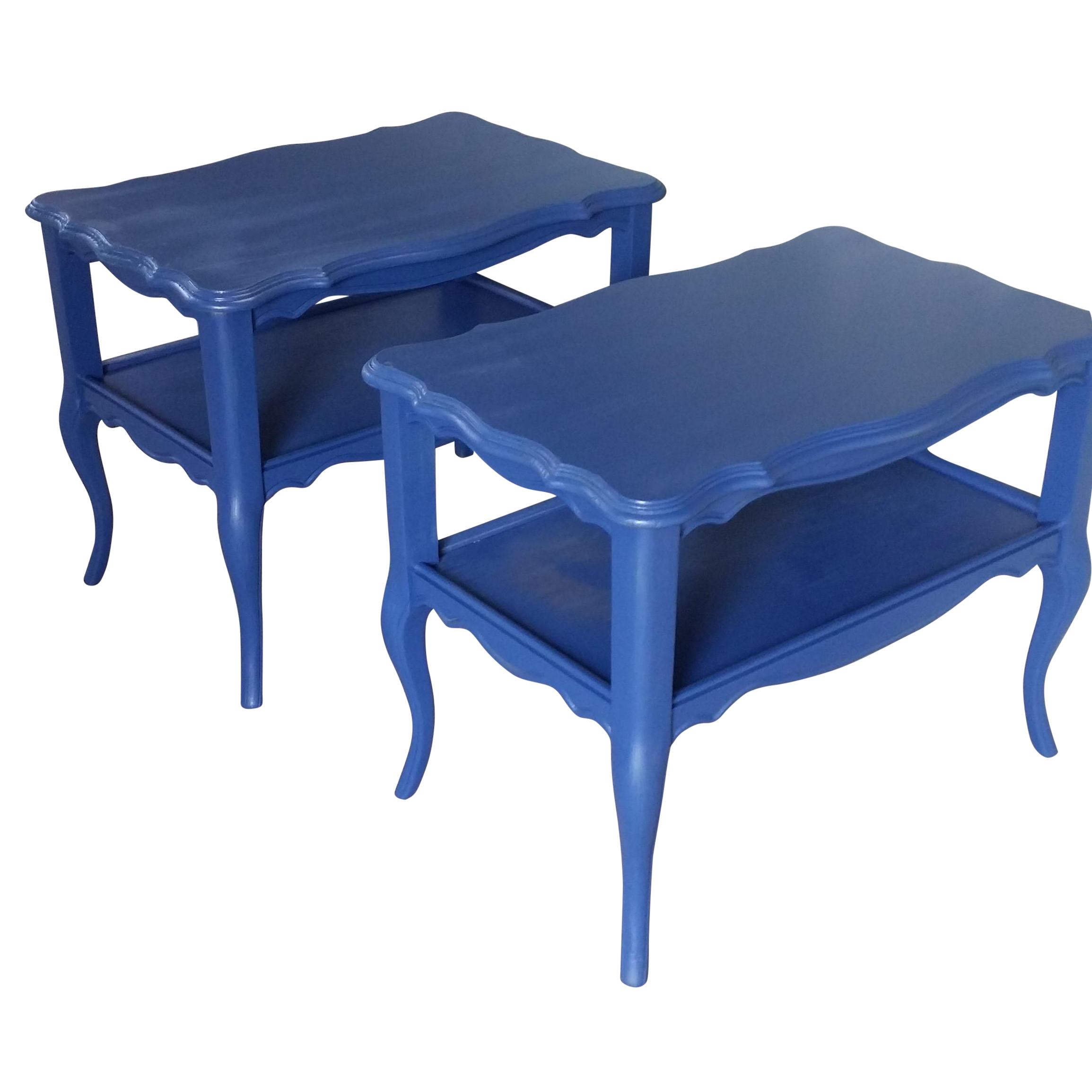 Vintage Royal Blue End Tables on Chairish.com