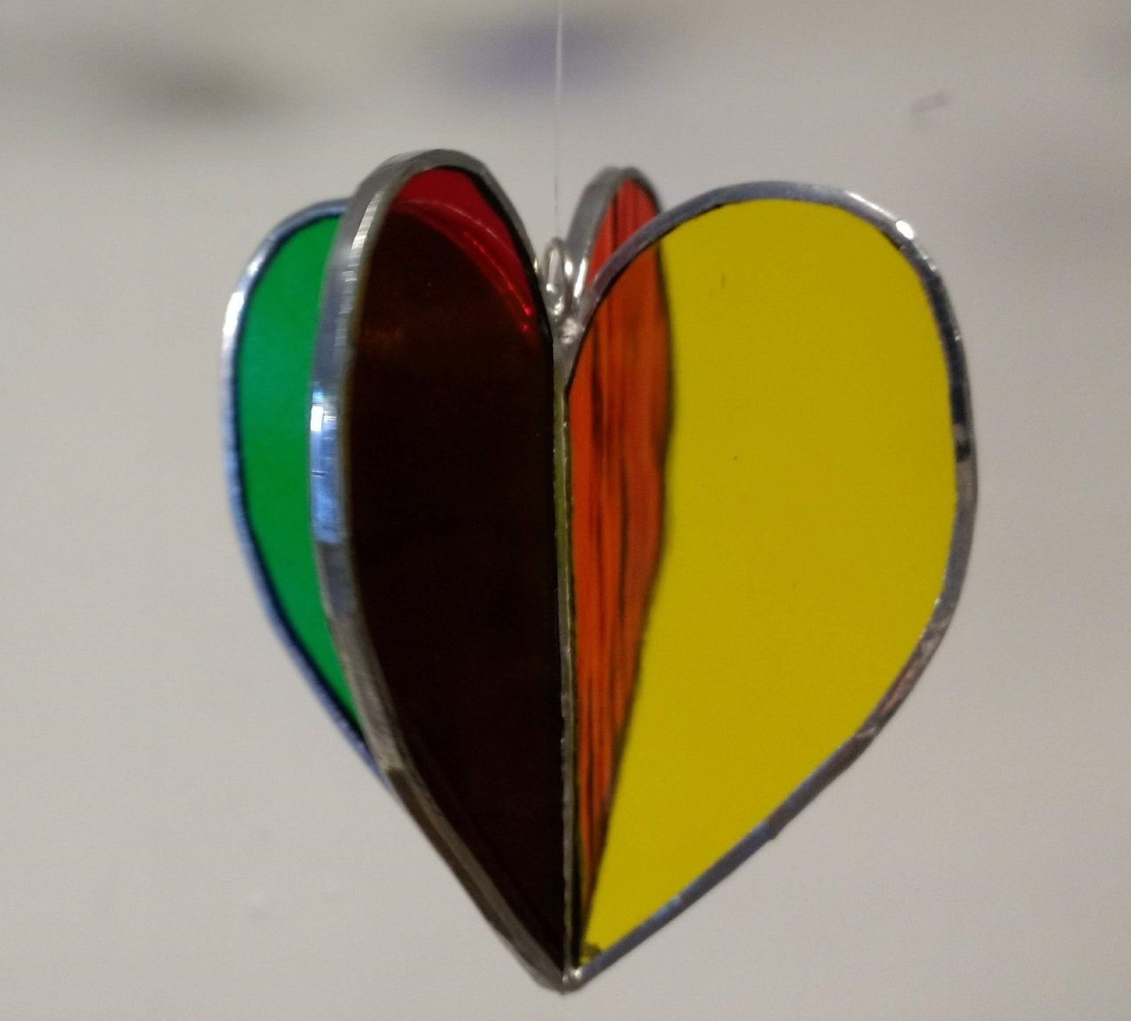 Choose A Color and A Charm Stained Glass Heart Suncatcher Heart Ornament or Window Hanging
