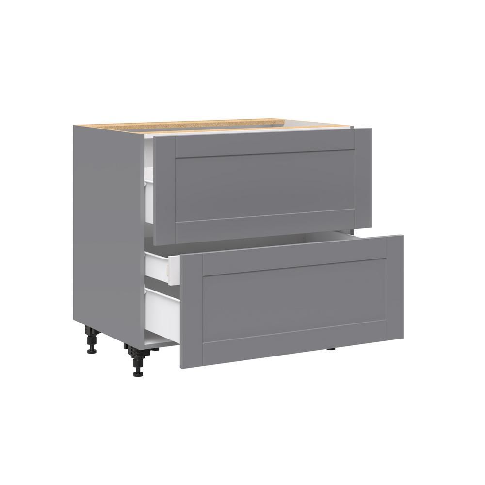 J Collection Shaker Assembled 36 In X 30 In X 24 In 2 Drawer Base Cabinet For Cooktop With One Hidden Inner Drawer In Gray Bct2d36i1 Gs The Home Depot Base Cabinets Types