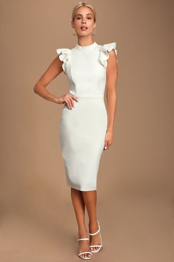 Lulus | Stylish Splendor White Backless Ruffle Bodycon Midi Dress | Size X-Small | 100% Polyester #shortbacklessdress