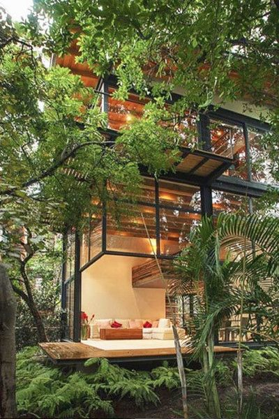 Glass House Modern Tree House Architecture House Architecture