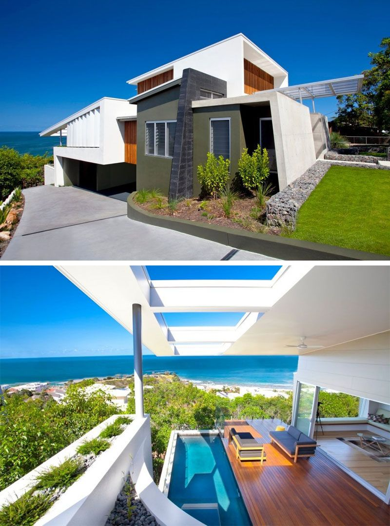 14 Examples Of Modern Beach Houses // The mixture of materials and textures  on the exterior of this Australian beach house give it a modern look and  help ...