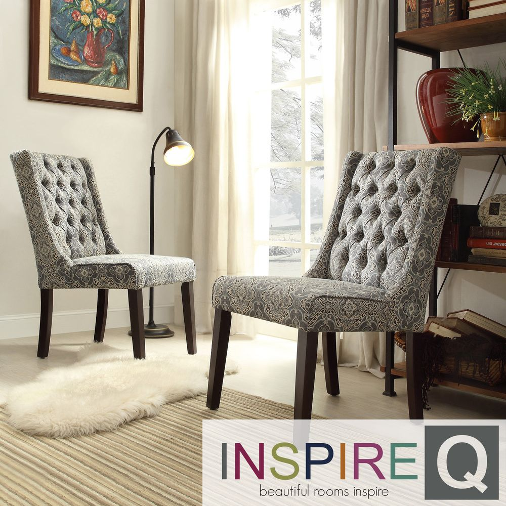 INSPIRE Q Evelyn Blue Damask Tufted Back Hostess Chairs (Set of 2) by  iNSPIRE Q