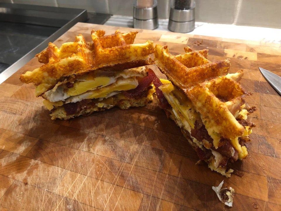 Chaffle breakfast sandwich ketorecipes Breakfast