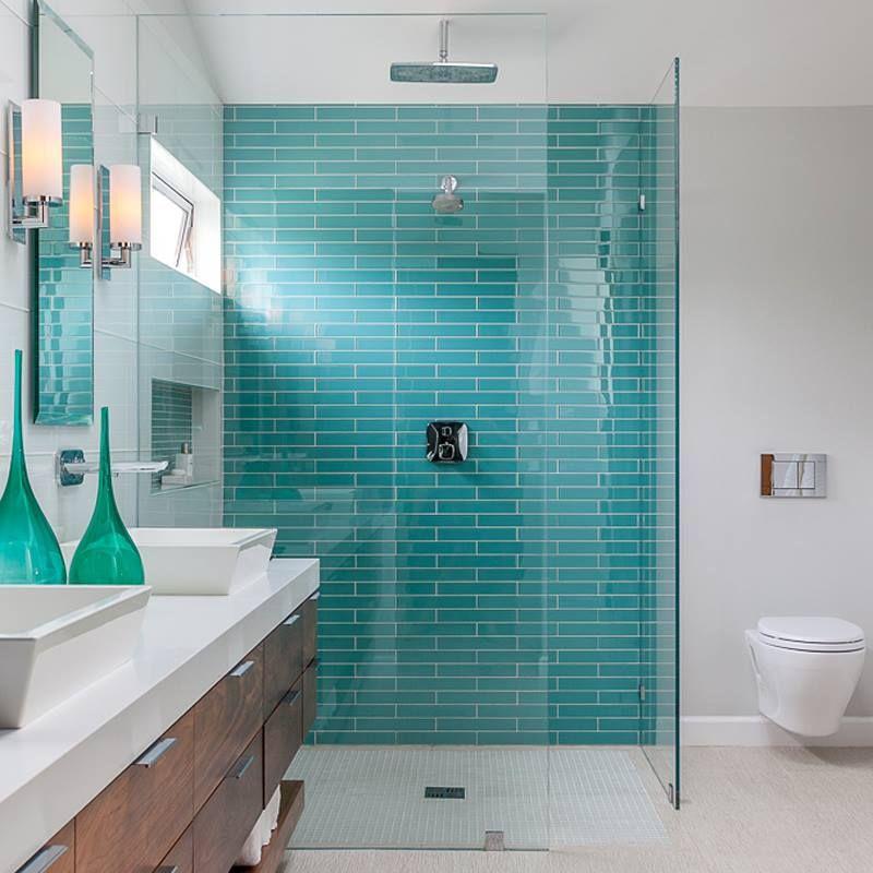 Coastal bathroom LOVE this color tile!!!
