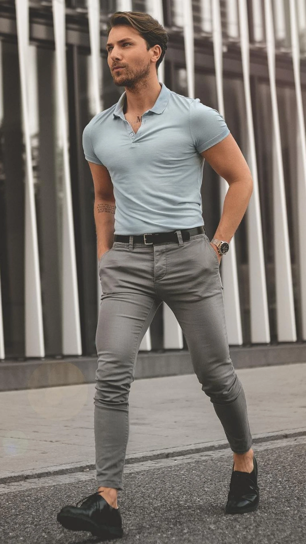 LIGHT BLUE/GREY POLO GREY CHINOS/JEANS   Polo shirt outfits ...